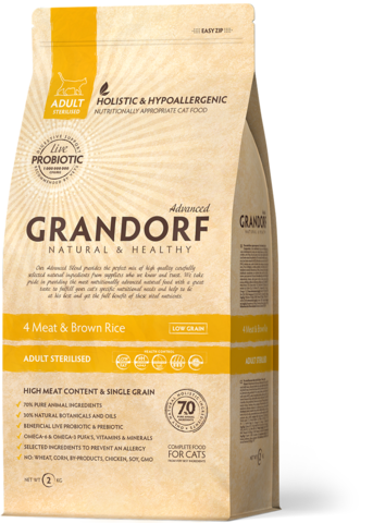 Grandorf Sterilized 4 Meat&Rice with Probiotcs
