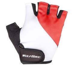Велосипедные перчатки Wolfbike короткие (красные)