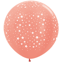 Шар (36''/91 см) Звезды, Розовое золото (568), металлик, 5 ст.
