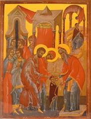 Введение во храм Пресвятой Богородицы. Копия иконы XV века на доске.