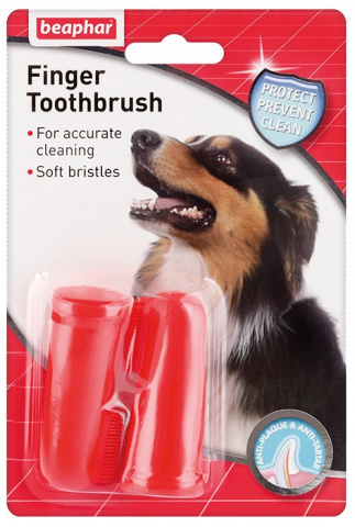 Beaphar зубная щетка для собак двойная на палец