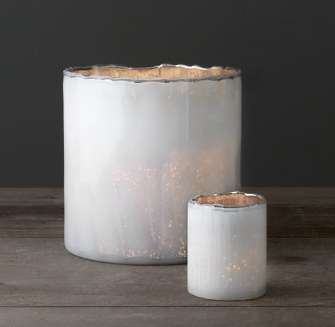 Two-Tone Milk Glass Hurricane & Votive