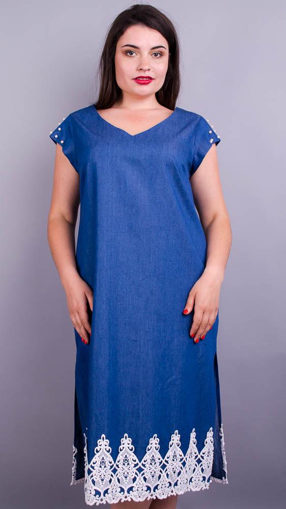 Айва вишивка. Святкова сукня великих розмірів. Джинс.