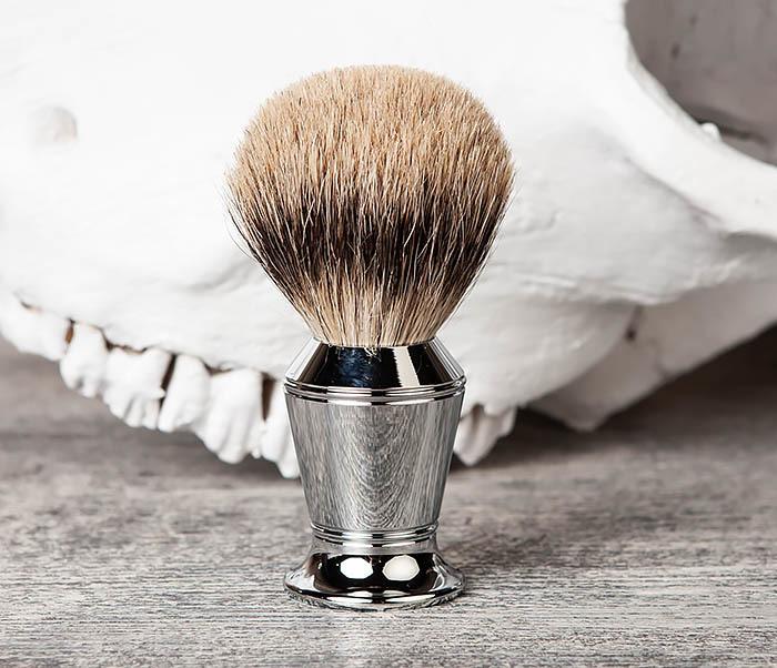 RAZ406 Помазок для бритья со стальной рукояткой фото 02