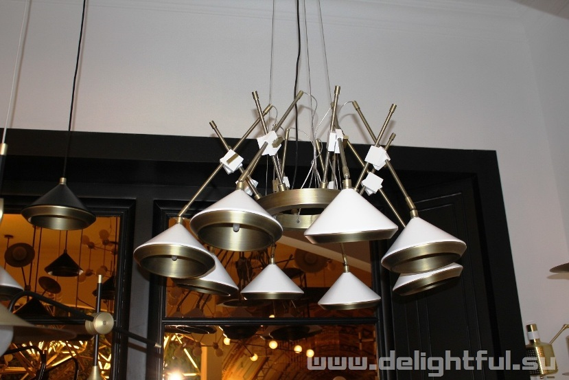 люстра  Bert Frank Shear Chandelier  White  & Brass