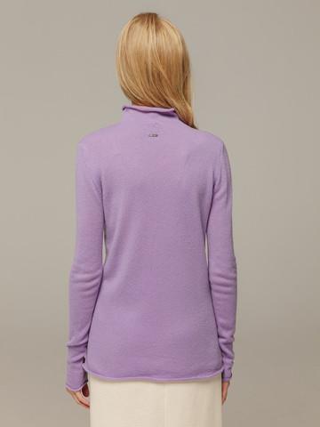 Женский лиловый джемпер с высоким горлом из 100% кашемира - фото 2
