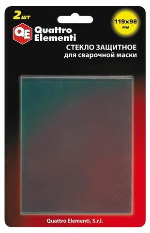 Стекло для сварочной маски QUATTRO ELEMENTI 119 х 98 мм, защитное, поликарбонат, блистер, 2 шт