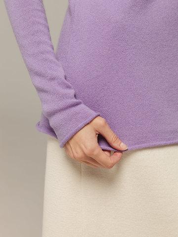 Женский лиловый джемпер с высоким горлом из 100% кашемира - фото 3