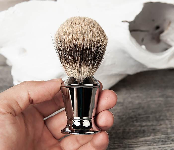RAZ406 Помазок для бритья со стальной рукояткой фото 04