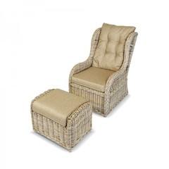 Кресло с подставкой из натурального ротанга Kvimol КМ-2000