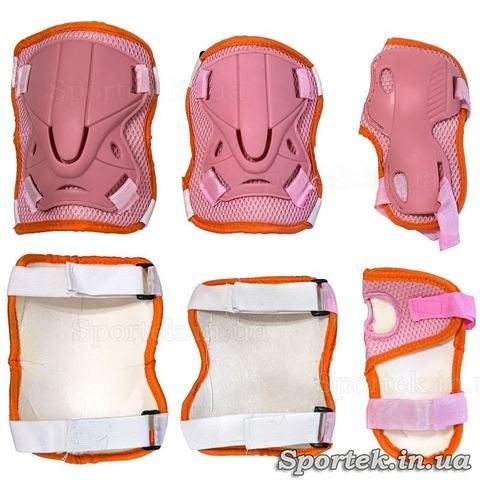 Женская оранжево-розовая защита на колени, локти и запястья.