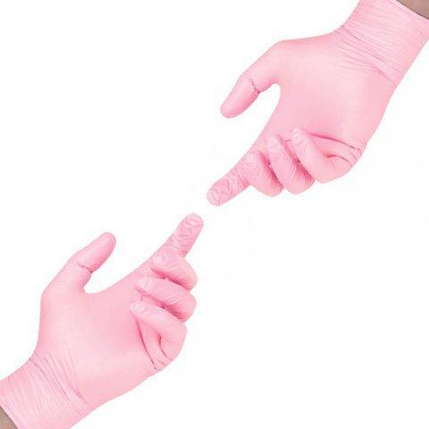 Перчатки нитрил розовые M, 100 шт