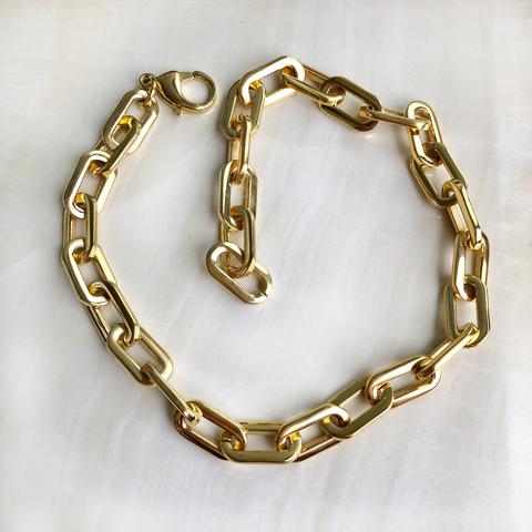 Колье-браслет из толстой цепочки, позолота