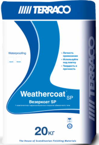 Terraco Weathercoat SP/Террако Везеркоат SP однокомпонентное цементное гидроизоляционное покрытие
