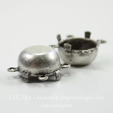 Сеттинг - основа - коннектор (2-2) для страза 13 мм (оксид серебра) ()