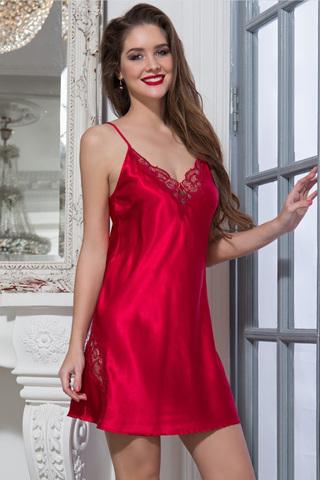 Атласная сорочка женская короткая красная