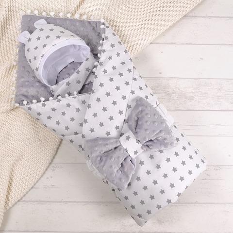 СуперМамкет. Конверт-одеяло с бантом и шапочкой Звездочки, серый