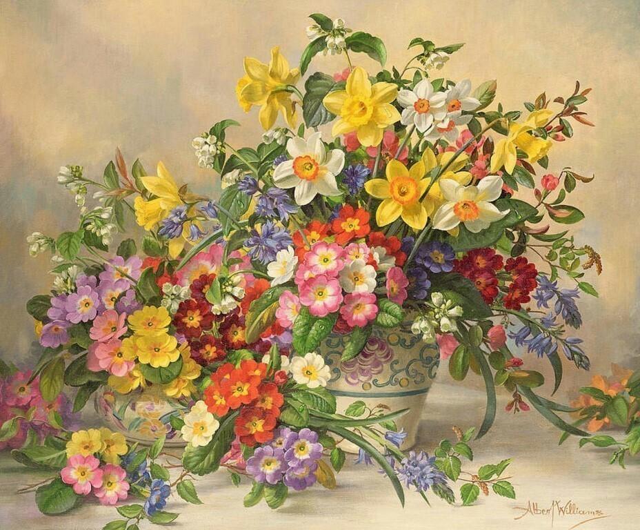 Картина раскраска по номерам 40x50 Весенние цветы в вазе ...