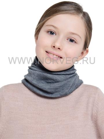 NORVEG МОНСТР баф с шерстью мериноса детский серый