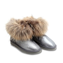 UGG Mini Fox Fur Glitter Grey