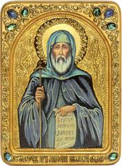 Живописная инкрустированная икона Преподобный Антоний Великий 29х21см на кипарисе в подарочной коробке
