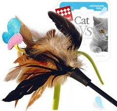 Gigwi дразнилка на стеке с бабочкой, из пластика/куриное перо 51 см