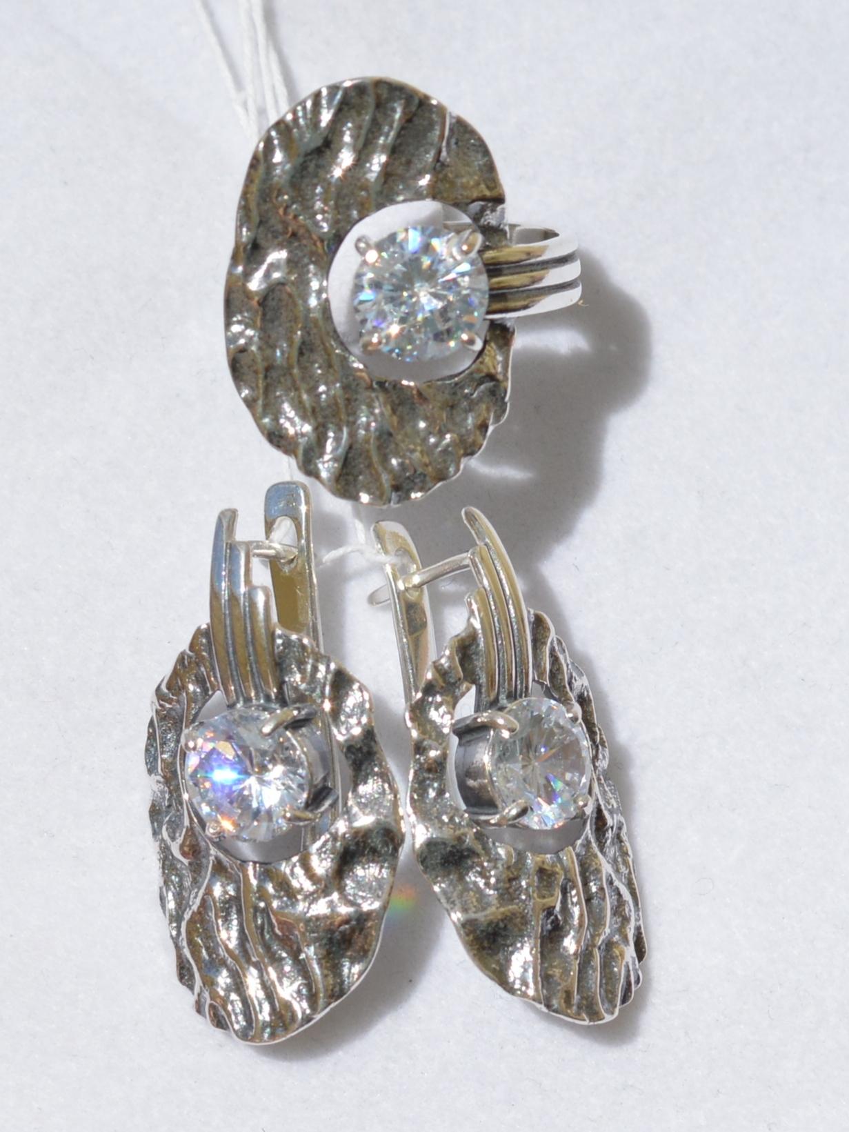 Мальва (кольцо + серьги из серебра)