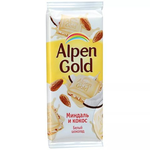"""Шоколад """"Alpen Gold"""" белый миндалем и кокосом 90 г"""