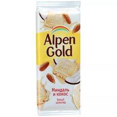 """Шоколад """"Alpen Gold"""" белый миндалем и кокосом, 90 г"""
