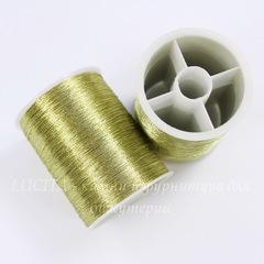 Нить металлизированная для вышивки бисером, 0,1 мм, цвет - грушевый, примерно 55 м