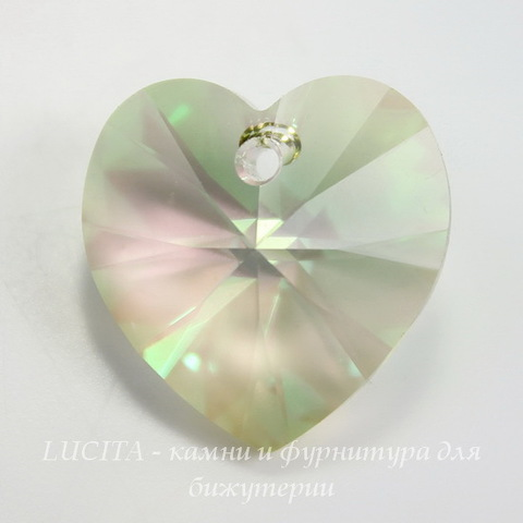 6202/6228 Подвеска Сваровски Сердечко Crystal Luminous Green (14,4х14 мм)