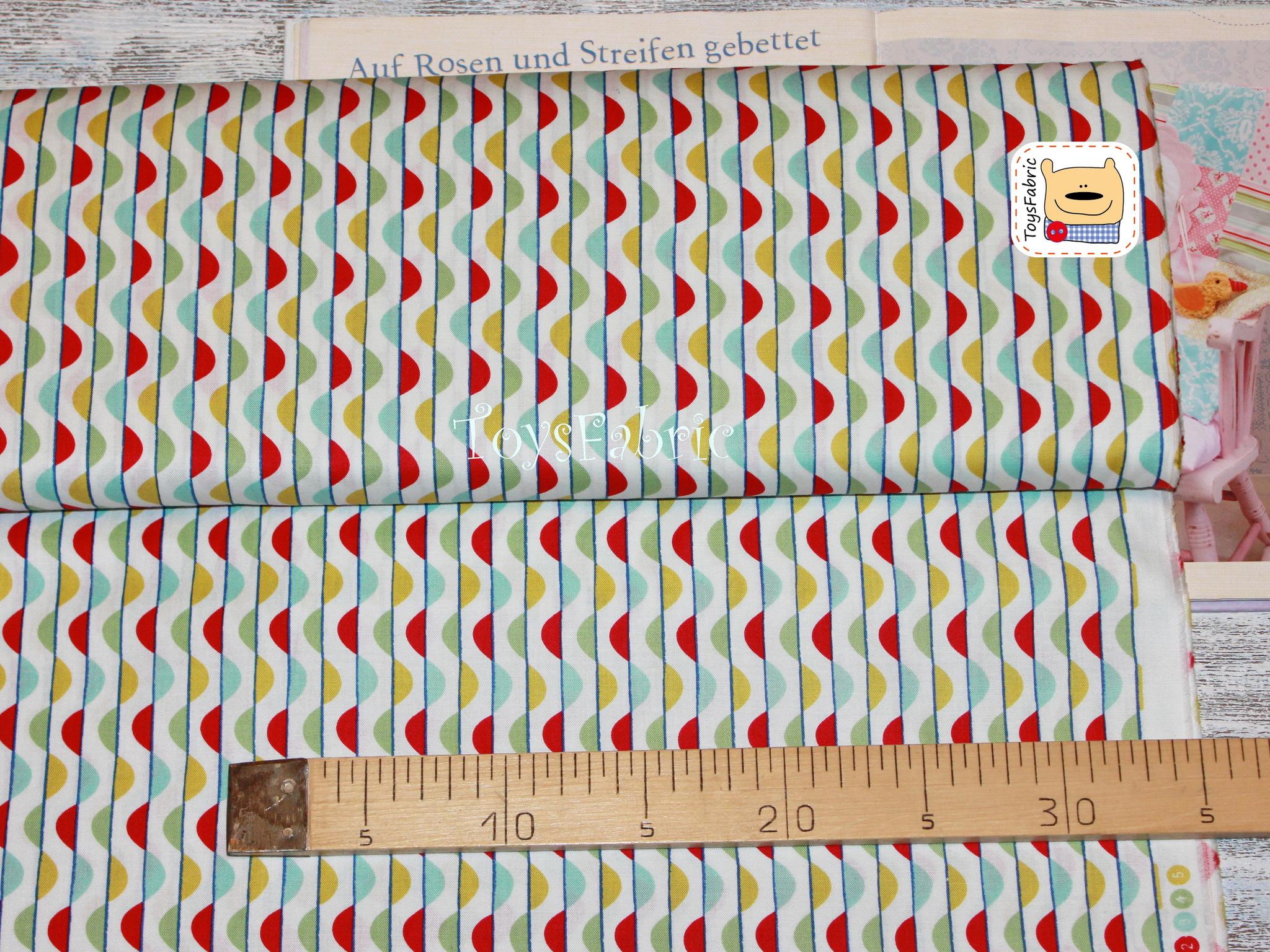 Ткань для пэчворка 20622 (цветные волны) 45х55см