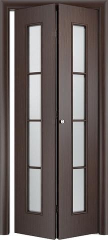 Дверь складная Верда С-14 (2 полотна), белое матовое, цвет венге, остекленная
