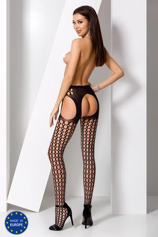 Эротические чулки с поясом в крупную сетку черного цвета