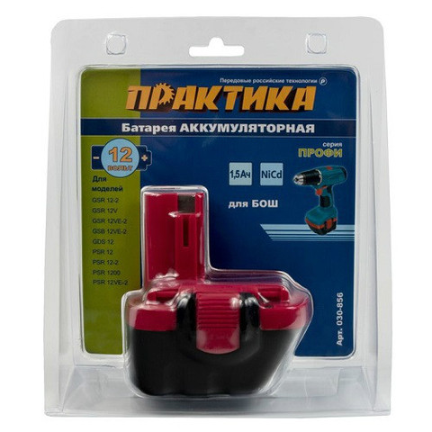 Аккумулятор ПРАКТИКА для BOSCH 12В, 1,5 Ач, NiCd (030-856)