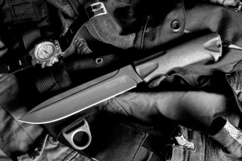 Тактический нож Ворон-3 с чехлом из кожи