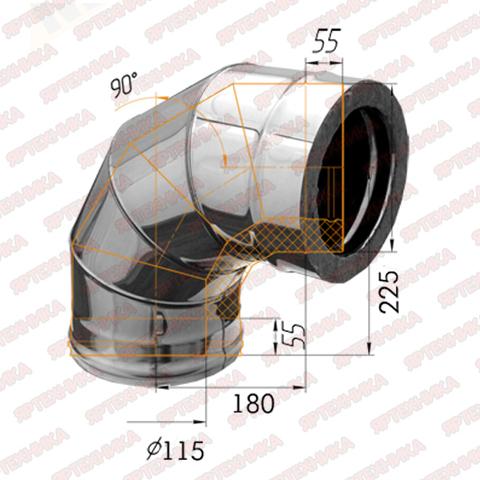 Отвод-сэндвич 90° d115x200мм (430/0,5 мм+оцинк) Ferrum