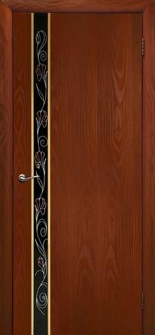Дверь Дубрава Сибирь Маэстро-Маки, стекло с рисунком/молдинг золото, цвет итальянский орех, остекленная