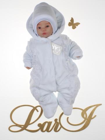 Велюровый комбинезон для новорожденных Аля (белый/белый)