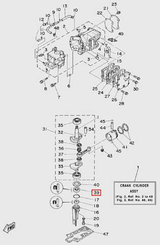 Сальник нижний колен.вала для лодочного мотора T5 Sea-PRO (2-39)