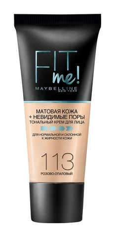 Мейб Fit Me тональный крем матовая кожа + невидимые поры №113 розово-опаловый