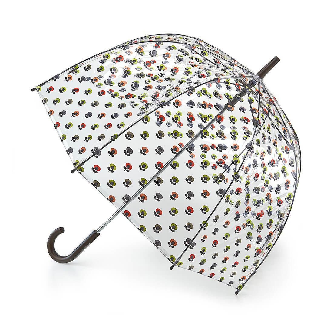 Механический женский зонт-трость Fulton MiniMultiFlowerOval прозрачный
