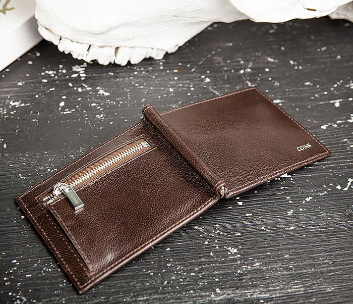 WL323-2 Мужской кожаный зажим для купюр «Atos» с монетницей фото 04