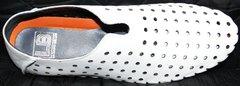 Белые кожаные мокасины Luciano Bellini 107704 White.