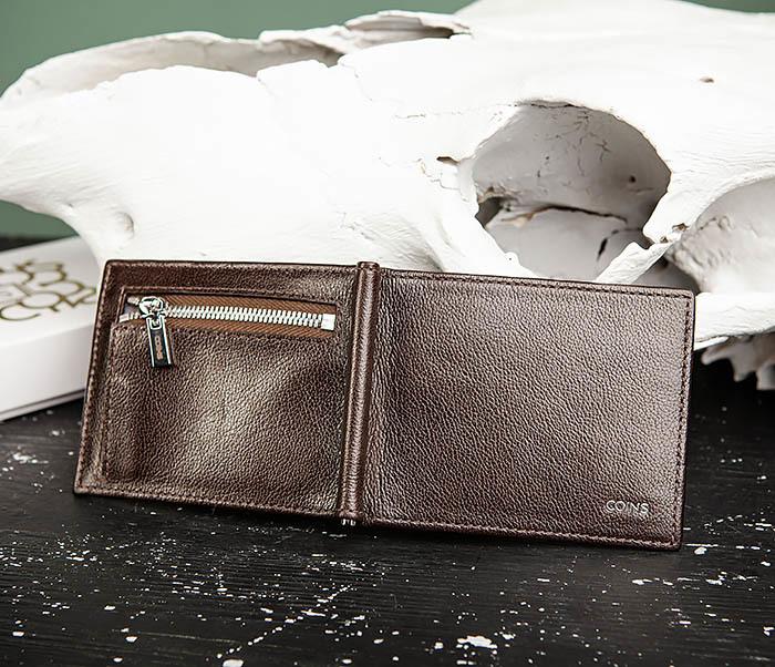 WL323-2 Мужской кожаный зажим для купюр «Atos» с монетницей фото 07
