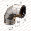 Отвод-сэндвич 90° d150x210мм (430/0,5 мм+оцинк) Ferrum