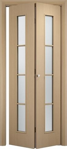 Дверь складная Верда С-14 (2 полотна), белое матовое, цвет беленый дуб, остекленная