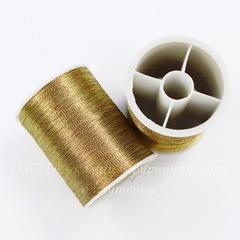 Нить металлизированная для вышивки бисером, 0,1 мм, цвет - горчичный, примерно 55 м