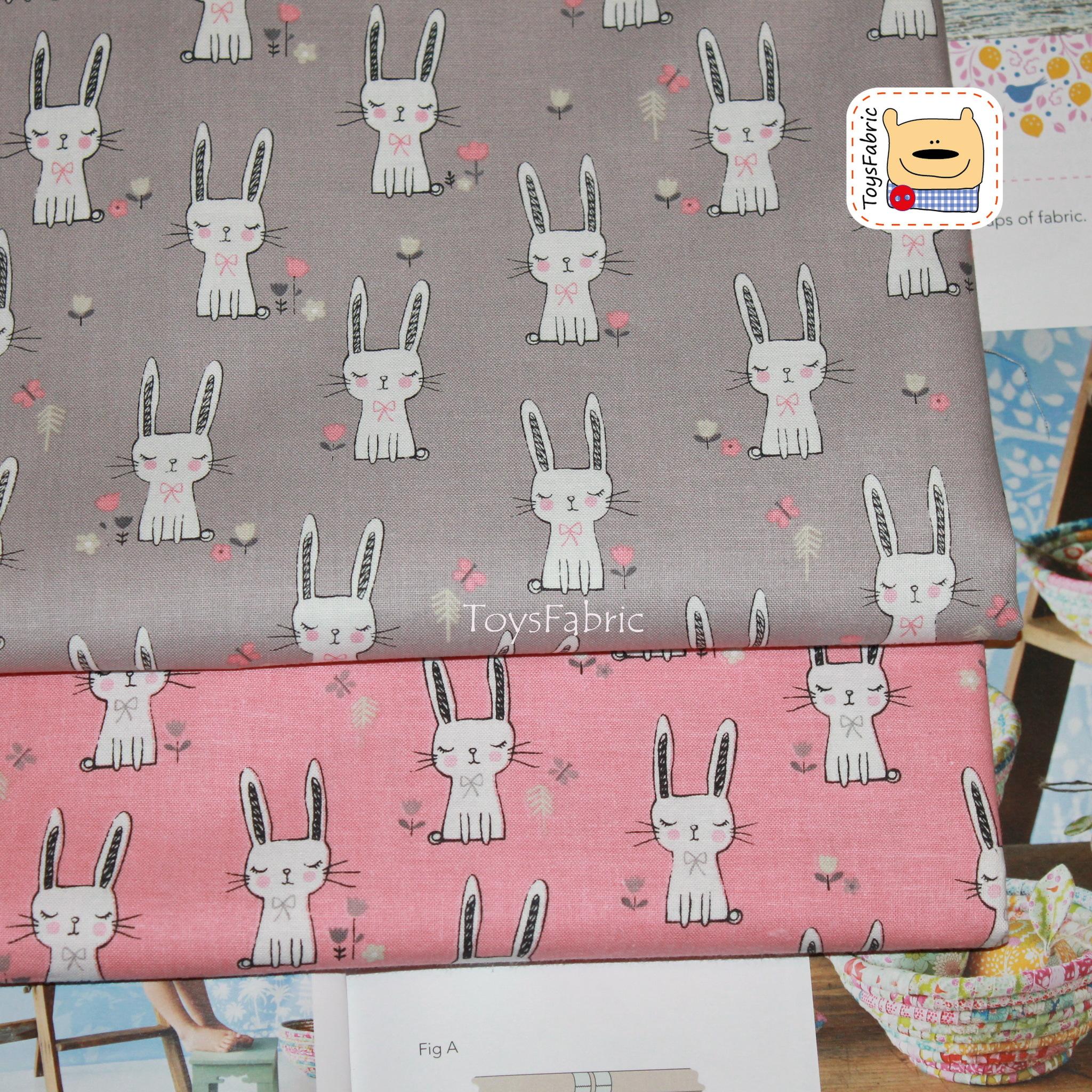 Ткань для пэчворка корейский хлопок 20827 (зайцы на розовом) 45х55см