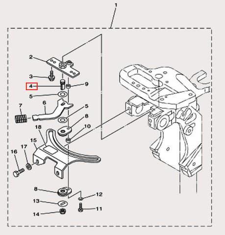 Вал стопорный M10×1.5-28 для лодочного мотора F9,9 Sea-PRO (18-4)